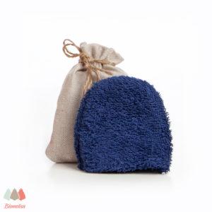 Manopla limpiadora facial con bolsita de tela artesanal Biomelisa (6,00€)